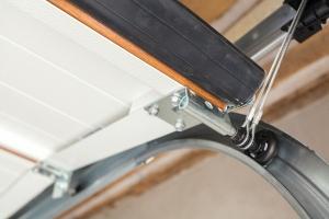 close up of a replace garage door