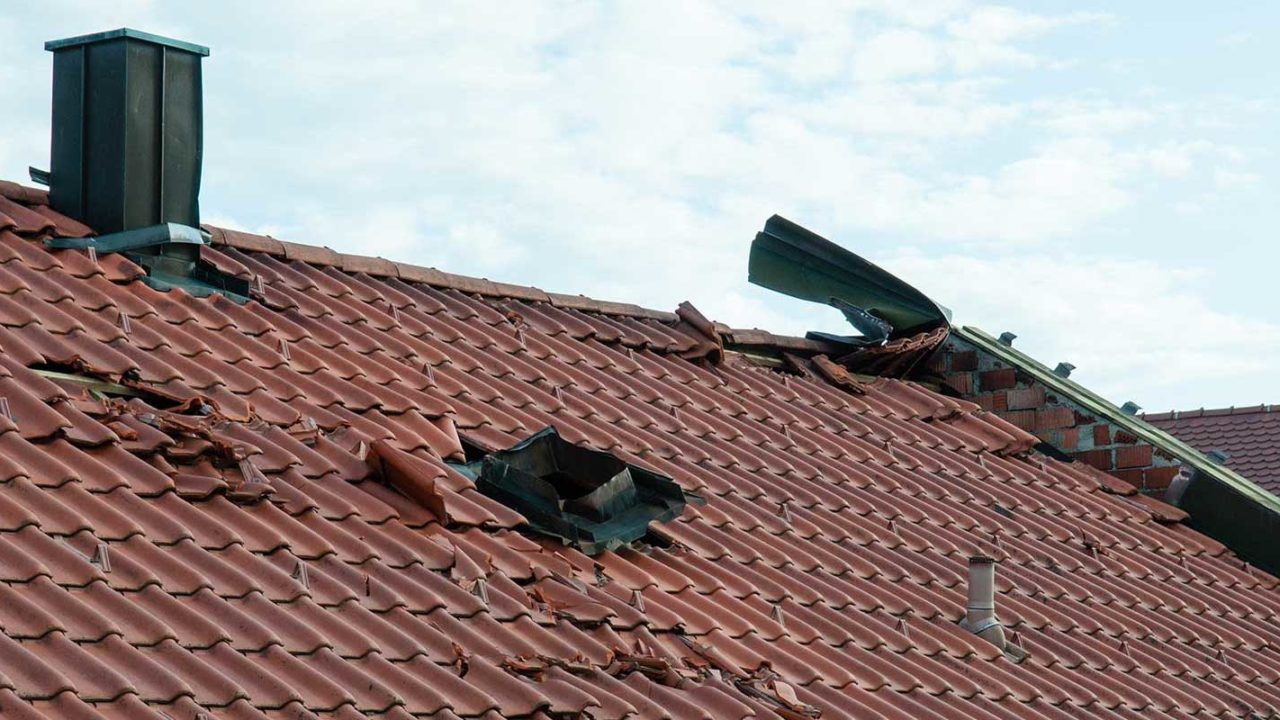 Bad roof storm damage