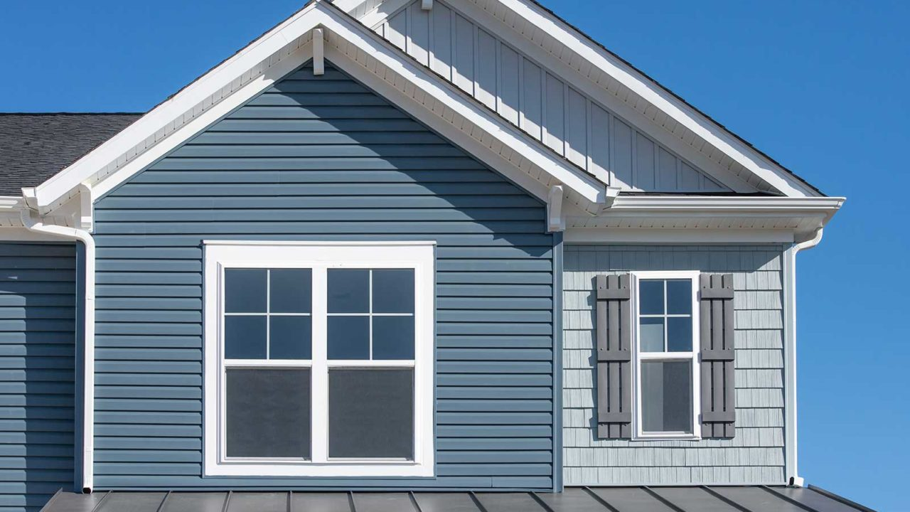 Blue siding trim on home