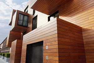 Wood siding as one of the siding options for colonial style homes