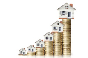 Image depicting gradual increase in property values. Roof replacement is one of the best investments