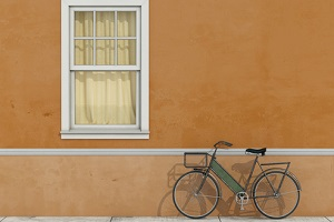 house with double hung windows and bicycle