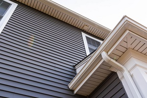 vinyl siding up the side of a new house