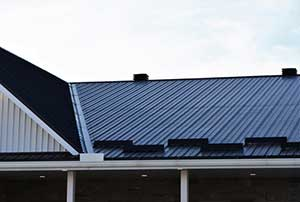 Newly installed metal roof