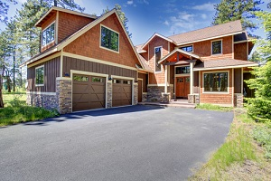 luxury house with brown and orange siding trim