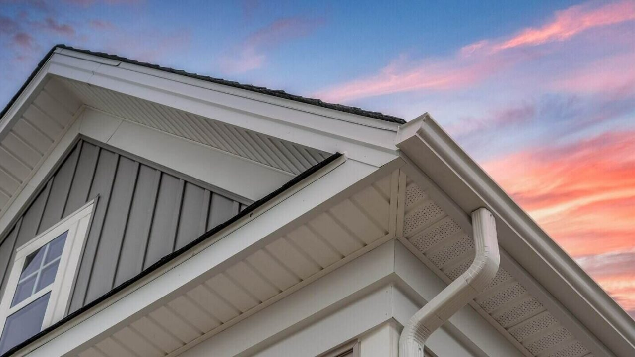 home with gray horizontal and vertical vinyl siding