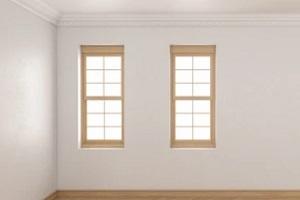 room with single hung windows