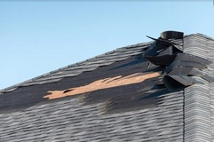 a damaged roof