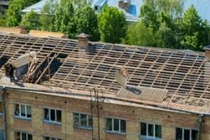 big roof replacement work in progress